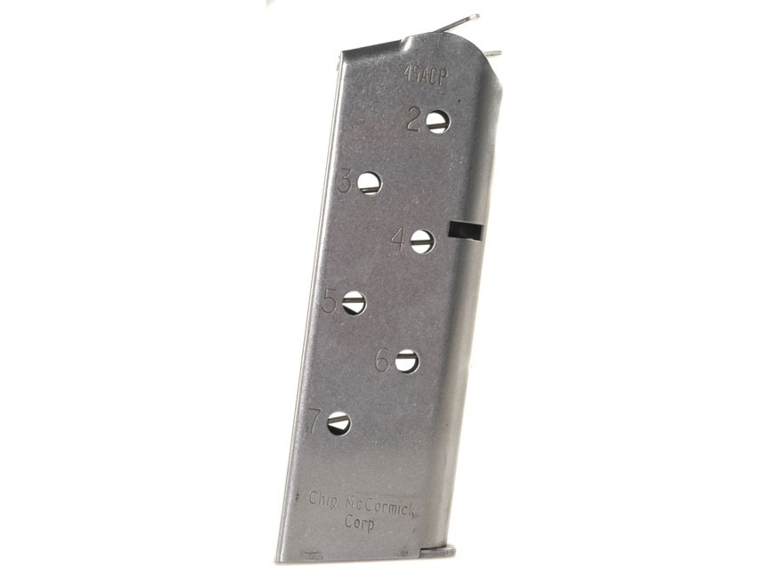 Chip McCormick Match Grade Magazine 1911 Officer 45 ACP 7-Round Stainless Steel