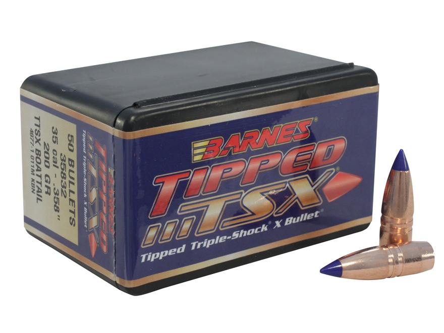 Barnes Tipped Triple-Shock X Bullets 35 Caliber (358 Diameter) 200 Grain Spitzer Boat T...