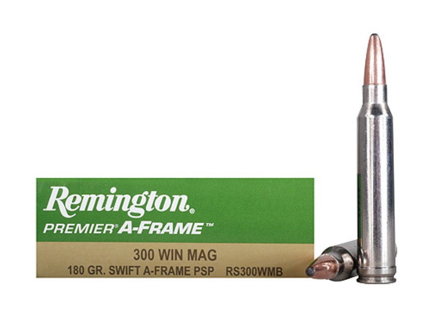 Remington Premier Ammunition 300 Winchester Magnum 180 Grain Swift A-Frame Pointed Soft...