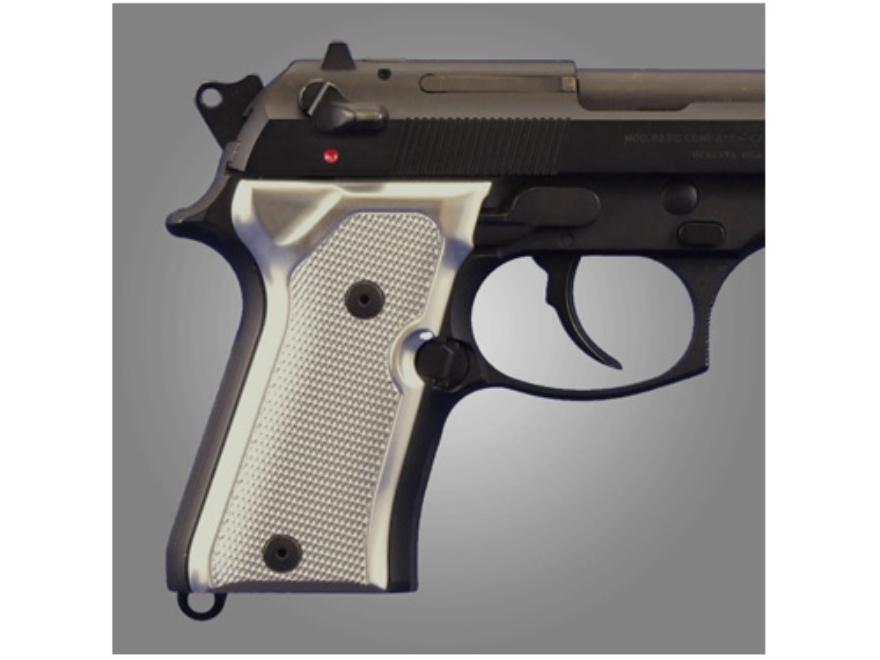 Hogue Extreme Series Grip Beretta 92FS Compact Checkered Brushed Aluminum Gloss Clear