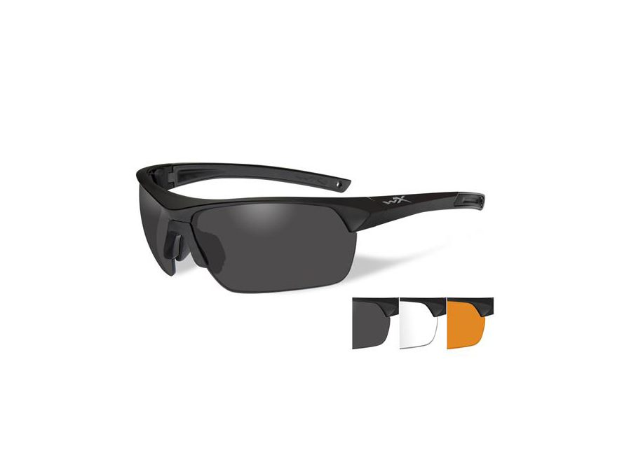 Wiley X Guard Sunglasses Matte Black Frame Smoke Gray, Clear, and Light Rust Lens