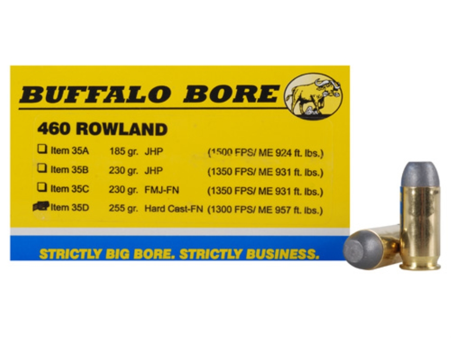 Buffalo Bore Ammunition 460 Rowland 255 Grain Hard Cast Flat Nose Box of 20