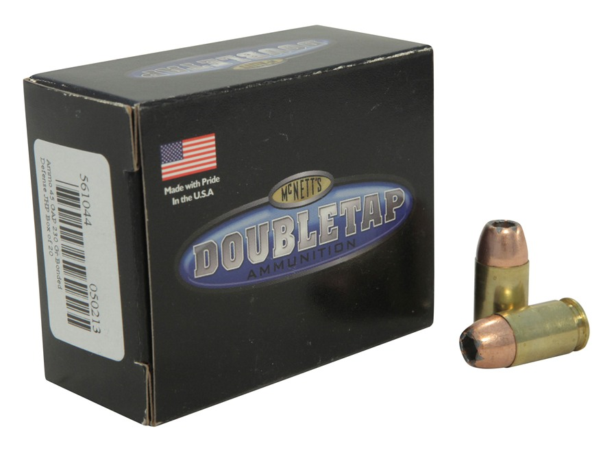 DoubleTap Ammunition 45 GAP 230 Grain Bonded Defense Jacketed Hollow Point Box of 20