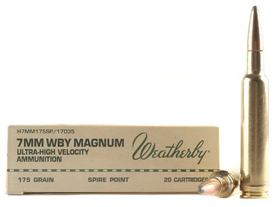 Weatherby Ammunition 7mm Weatherby Magnum 175 Grain Hornady Spire Point Box of 20