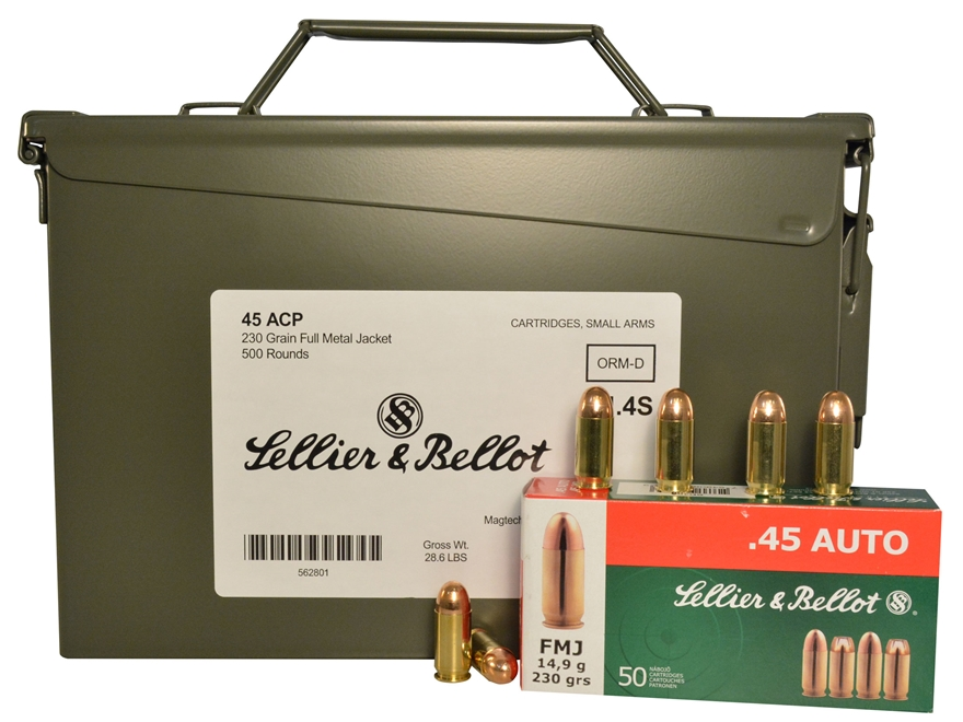 Sellier & Bellot Ammunition 45 ACP 230 Grain Full Metal Jacket Ammo Can of 500 (10 Boxe...