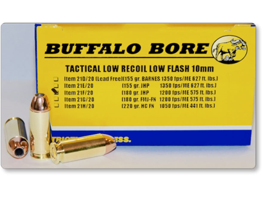 Buffalo Bore Tactical Low Recoil Ammunition 10mm Auto 180 Grain Jacketed Hollow Point L...