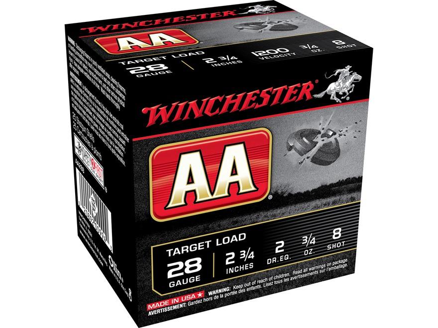 """Winchester AA Target Ammunition 28 Gauge 2-3/4"""" 3/4 oz #8 Shot"""