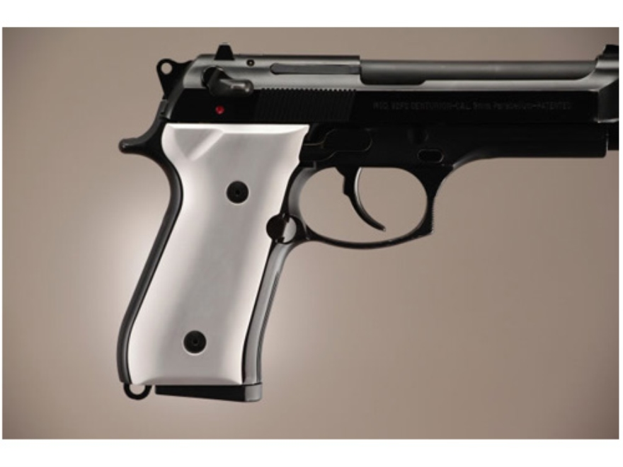 Hogue Extreme Series Grip Beretta 92F, 92FS, 92SB, 96, M9 Brushed Aluminum Gloss Clear