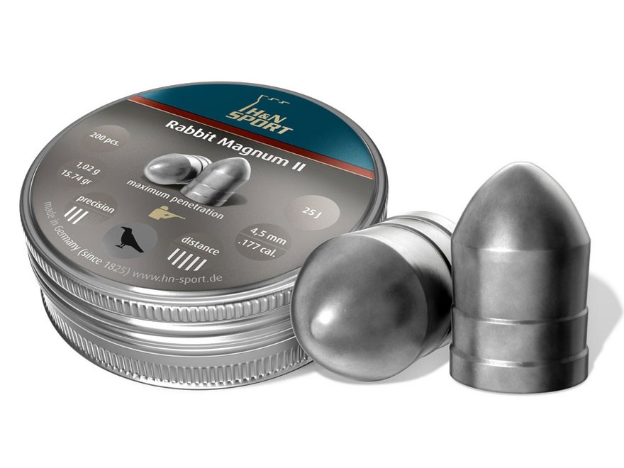 H&N Rabbit Magnum II Air Gun Pellets 22 Caliber 25.62 Grain Domed Tin of 200