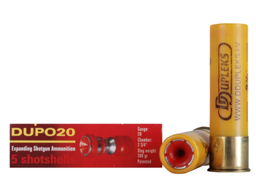 "D Dupleks Dupo20 Ammunition 20 Gauge 2-3/4"" 5/8 oz Expanding Steel Slug Lead-Free Box of 5"