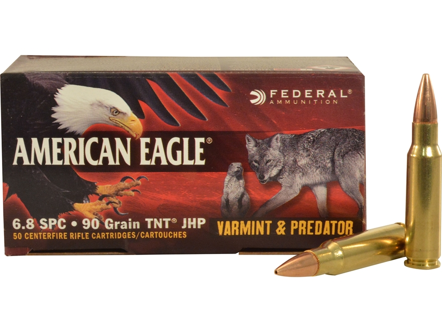 Federal American Eagle Ammunition 6.8mm Remington SPC 90 Grain Jacketed Hollow Point Bo...
