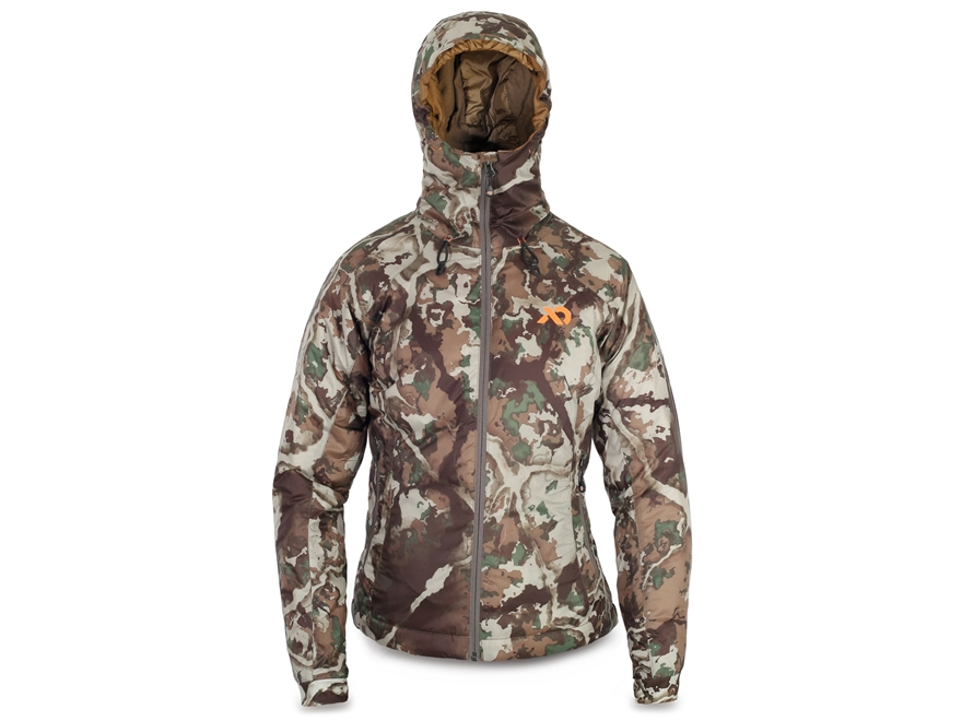 First Lite Women's Aurora Puffy Insulated Jacket Synthetic Blend Fusion Camo XL