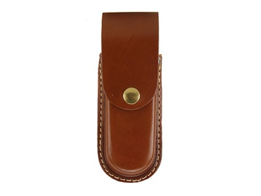 "Hunter Belt Knife Sheath for Folding Knife 4-3/4"" to 5-1/2"" Leather Brown"
