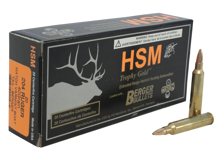 HSM Trophy Gold Ammunition 204 Ruger 40 Grain Berger Varmint Hollow Point Boat Tail Box...