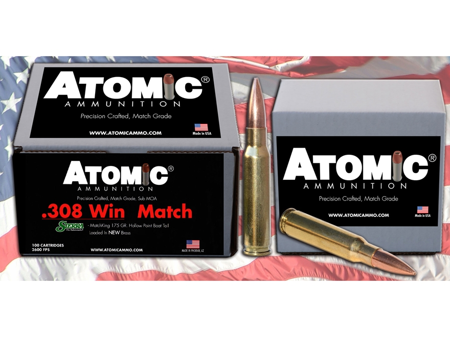 Atomic Match Ammunition 308 Winchester 175 Grain Sierra MatchKing Hollow Point Boat Tai...