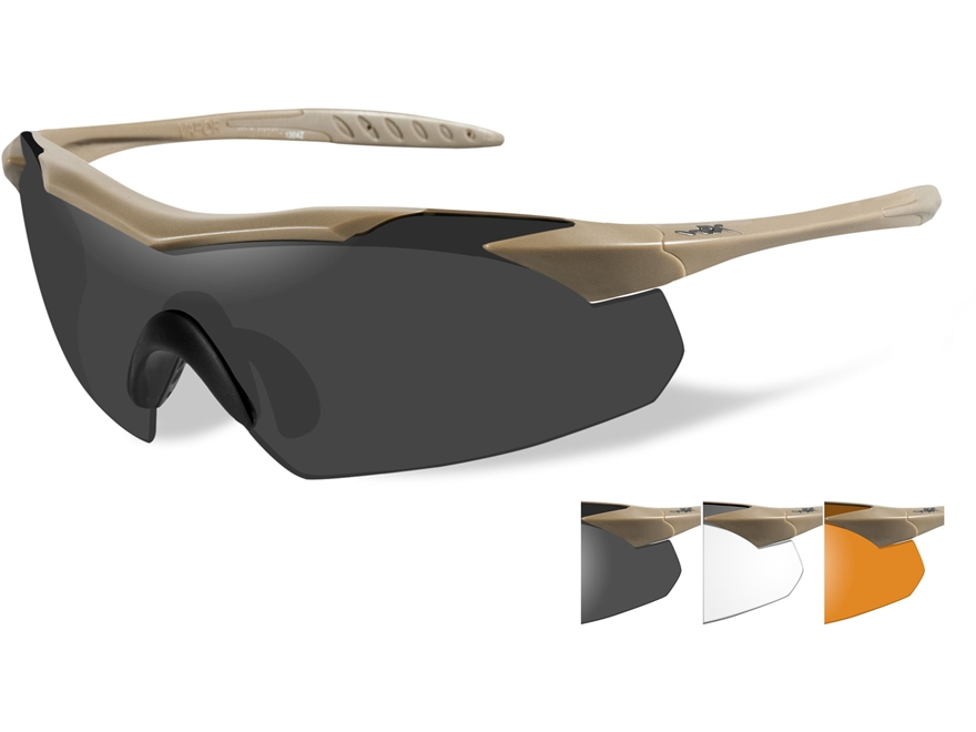 Wiley X WX Vapor Sunglasses Tan Frame Smoke Grey, Clear, and Light Rust Lens