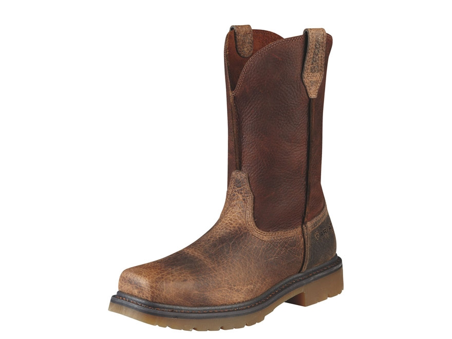 "Ariat Rambler 10"" Pull-On Square Steel Toe Work Boots Leather Earth/Brown Men's"