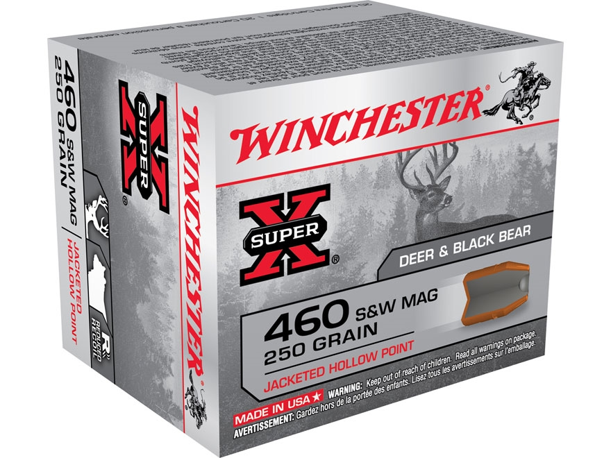 Winchester Super-X Ammunition 460 S&W Magnum 250 Grain Jacketed Hollow Point Reduced Re...
