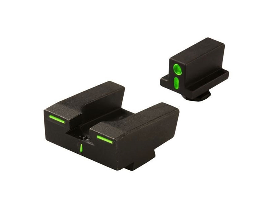 Meprolight R4E Sight Set Glock 17, 19, 22, 23, 34, 35 Steel Tritium Green Front and Ora...