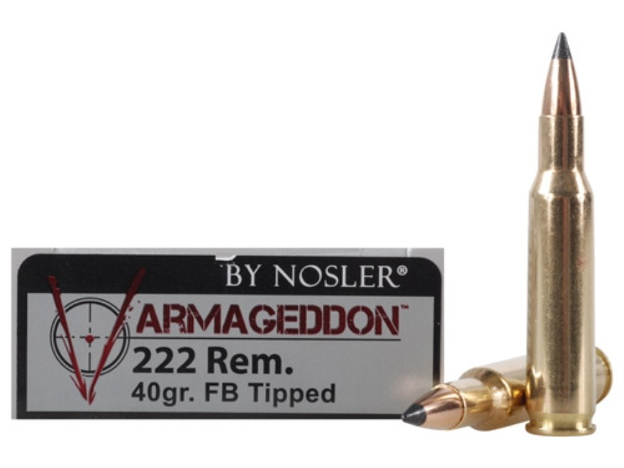 Nosler Varmageddon Ammunition 222 Remington 40 Grain Tipped Flat Base Box of 20