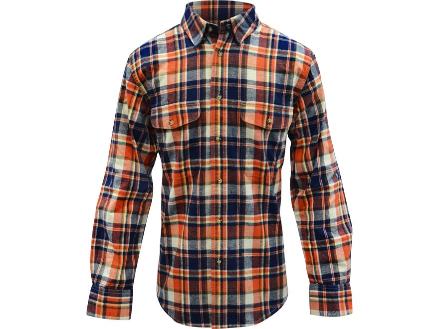 Midwayusa men 39 s flannel long sleeve shirt orange blue xl for Mens xl flannel shirts