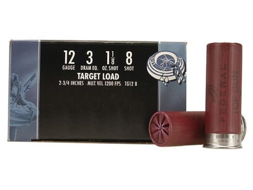 """Federal Top Gun Ammunition 12 Gauge 2-3/4"""" 1-1/8 oz #8 Shot"""