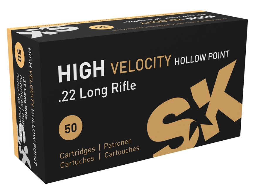 SK High Velocity HP Ammunition 22 Long Rifle 40 Grain Lead Hollow Point Box of 50