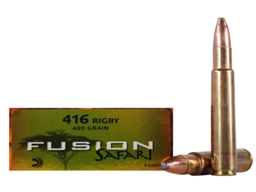 Federal Fusion Safari Ammunition 416 Rigby 400 Grain Spitzer Boat Tail Box of 20