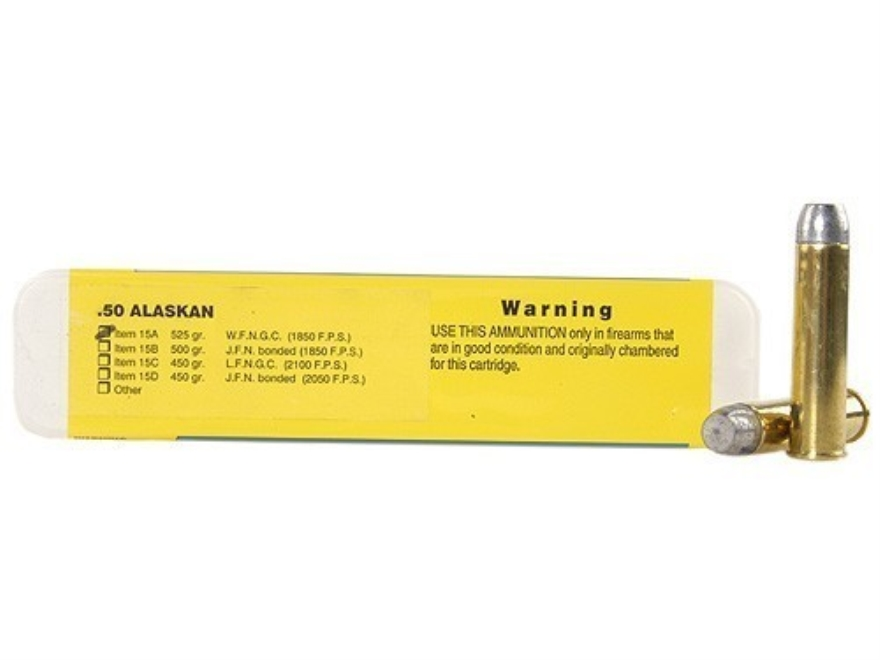 Buffalo Bore Ammunition 50 Alaskan 525 Grain Lead Wide Flat Nose Gas Check Box of 20