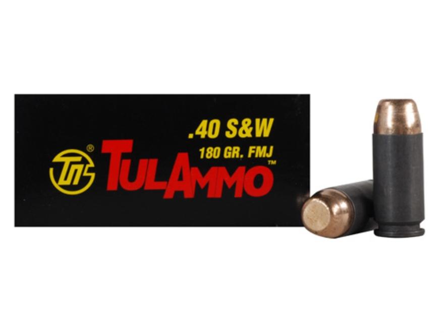 TulAmmo Ammunition 40 S&W 180 Grain Full Metal Jacket (Bi-Metal) Steel Case
