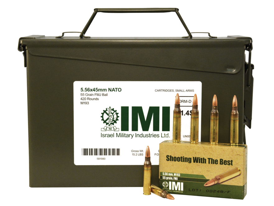 IMI Ammunition 5.56x45mm 55 Grain M193 Full Metal Jacket Boat Tail Ammo Can of 420 (14 ...