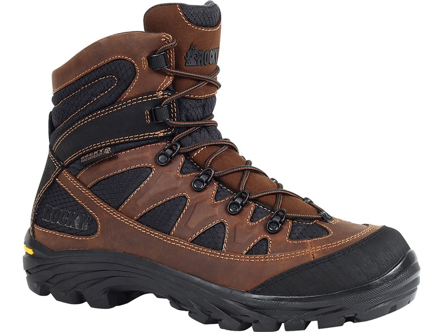 """Rocky RidgeTop 6"""" Waterproof Uninsulated Hiking Boots Leather Brown and Black Men's"""