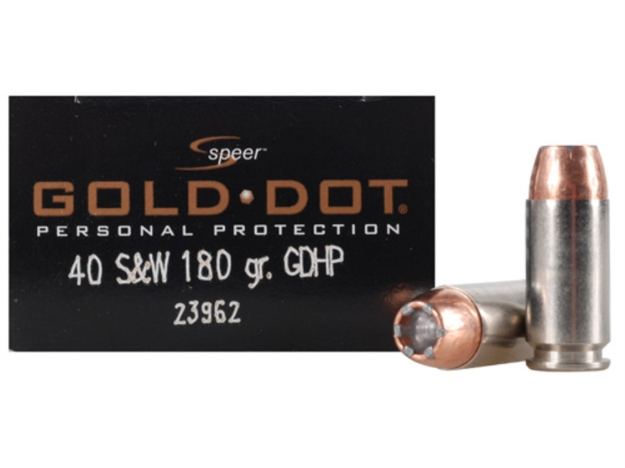 Speer Gold Dot Ammunition 40 S&W 180 Grain Jacketed Hollow Point Box of 20