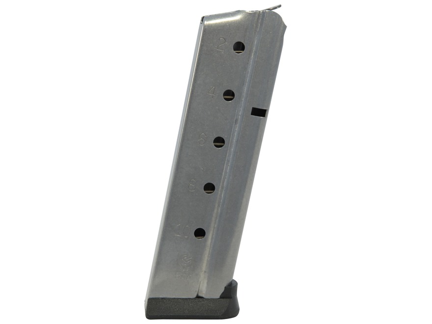 Metalform Magazine 1911 Government, Commander 9mm Luger 10-Round Stainless Steel Flat F...