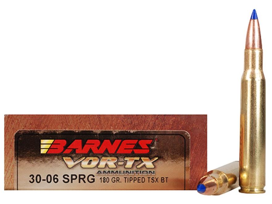 Barnes VOR-TX Ammunition 30-06 Springfield 180 Grain Tipped Triple-Shock X Bullet Boat ...