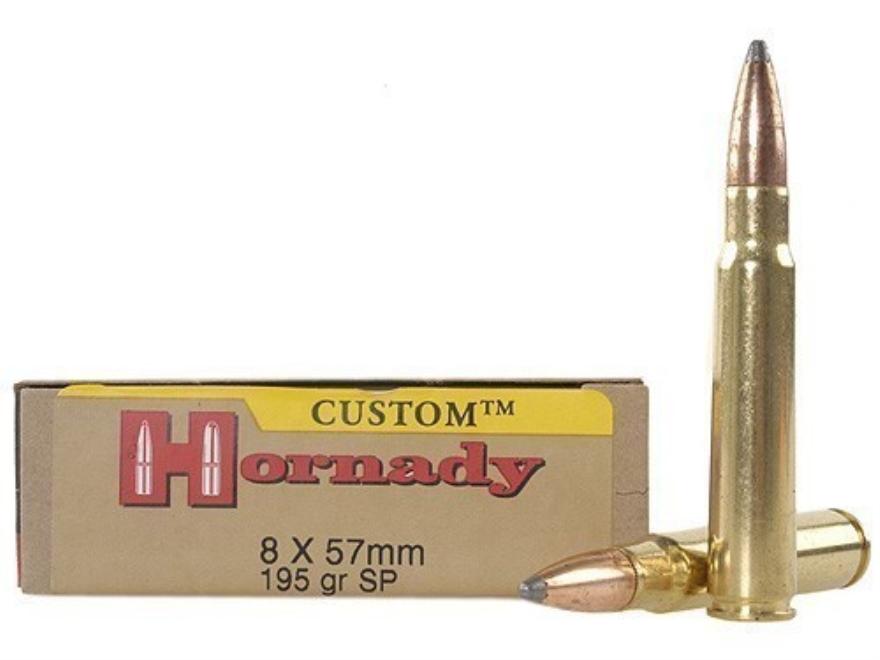 Hornady Custom Ammunition 8x57mm JS Mauser (8mm Mauser) 195 Grain Interlock Spire Point...
