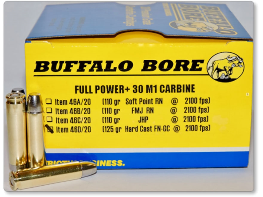 Buffalo Bore Ammunition 30 Carbine 125 Grain Hard Cast Gas Check Flat Nose Box of 20