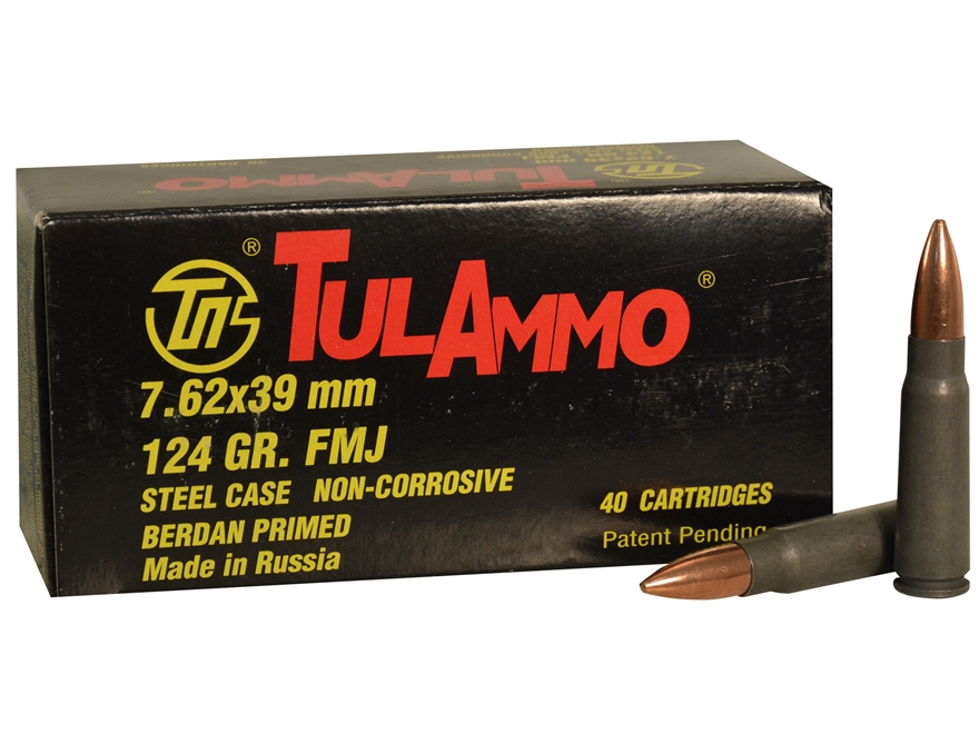 TulAmmo Ammunition 7.62x39mm 124 Grain Full Metal Jacket (Bi-Metal) Steel Case Berdan P...