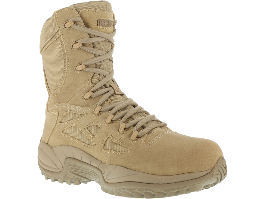 """Reebok Rapid Response RB 8"""" Side-Zip Composite Safety Toe Tactical Boots Leather/Nylon"""