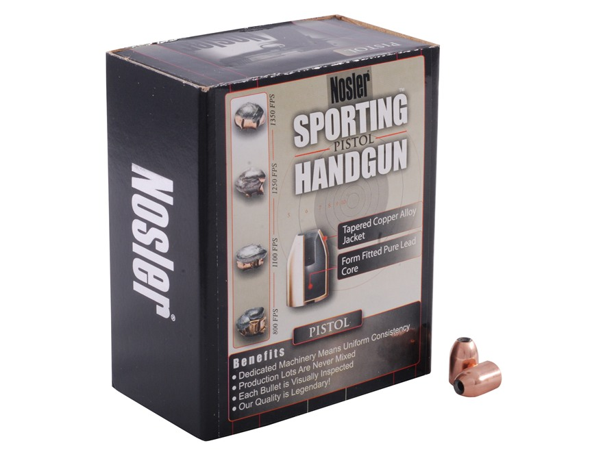 Nosler Sporting Handgun Bullets 9mm (355 Diameter) 124 Grain Jacketed Hollow Point Box ...