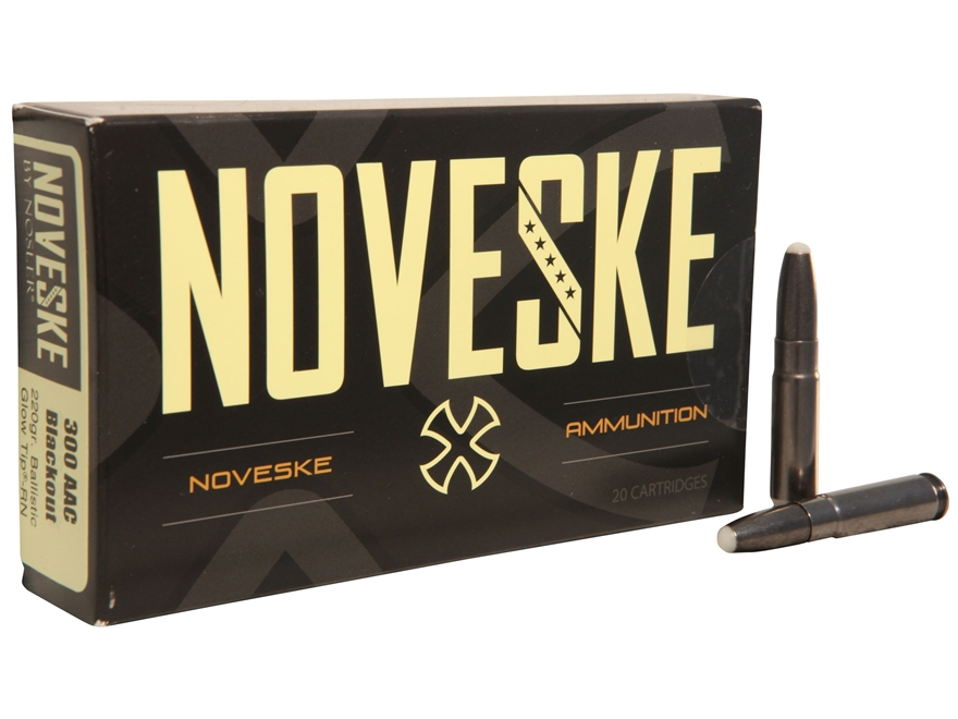 Noveske Ammunition 300 AAC Blackout Subsonic 220 Grain Ballistic Glow Tip Box of 20