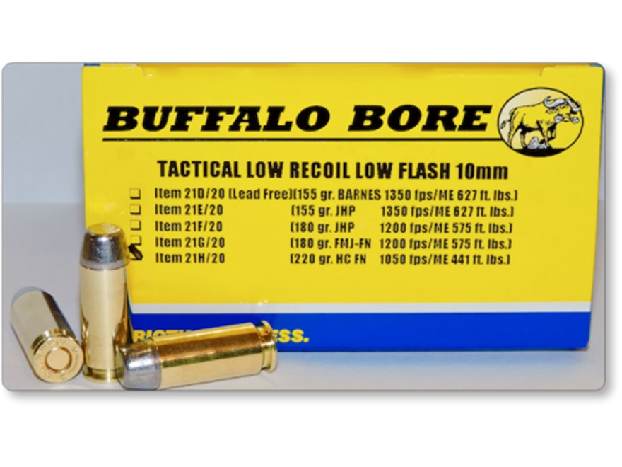 Buffalo Bore Tactical Low Recoil Ammunition 10mm Auto 220 Grain Hard Cast Lead Flat Nos...