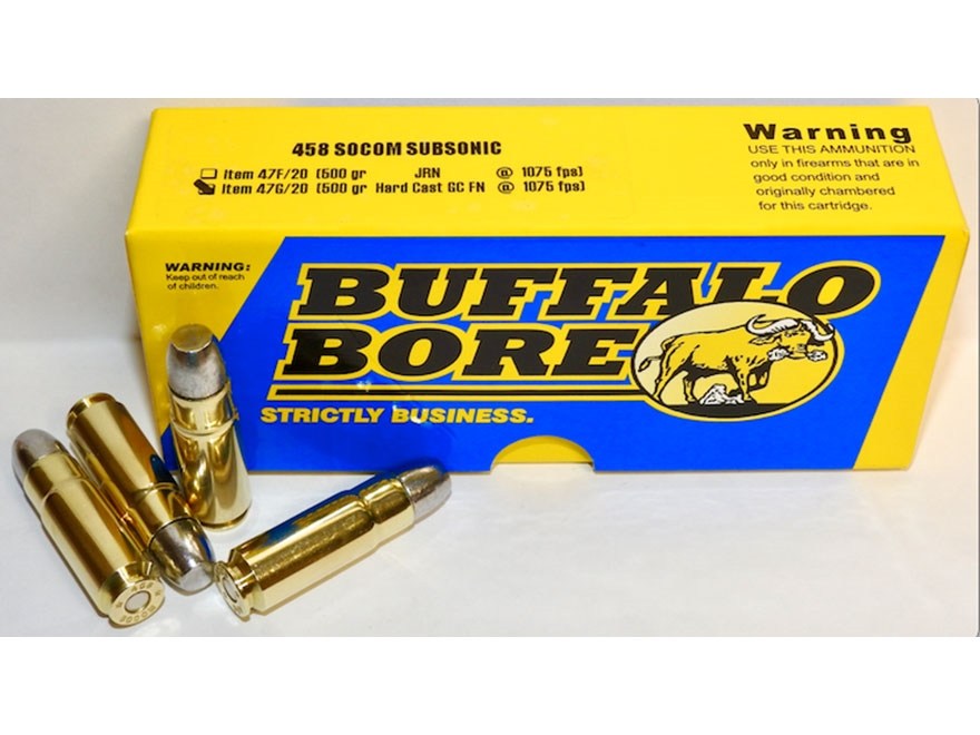 Buffalo Bore Ammunition 458 SOCOM Subsonic 500 Grain Hard Cast Gas Check Flat Nose Box ...