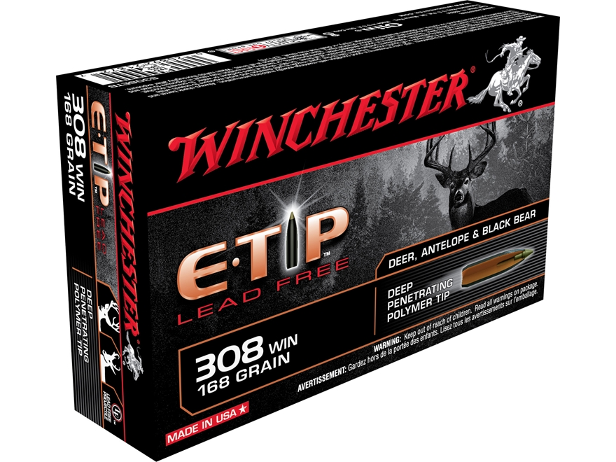 Winchester E-Tip Ammunition 308 Winchester 168 Grain Lead-Free Polymer Tip