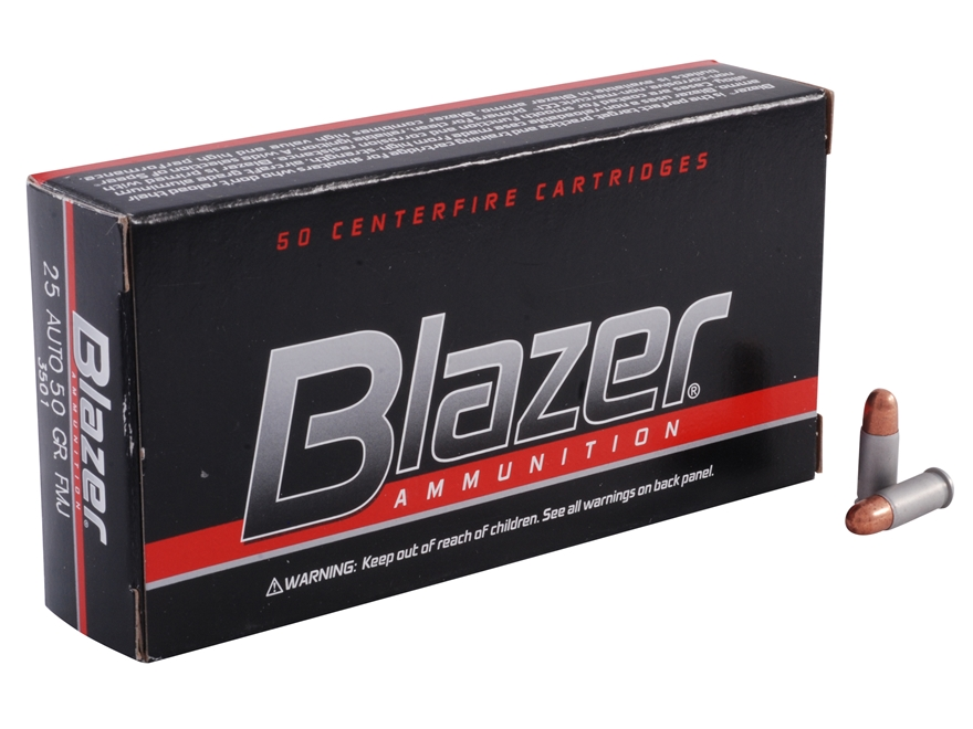 CCI Blazer Ammunition 25 ACP 50 Grain Full Metal Jacket Box of 50