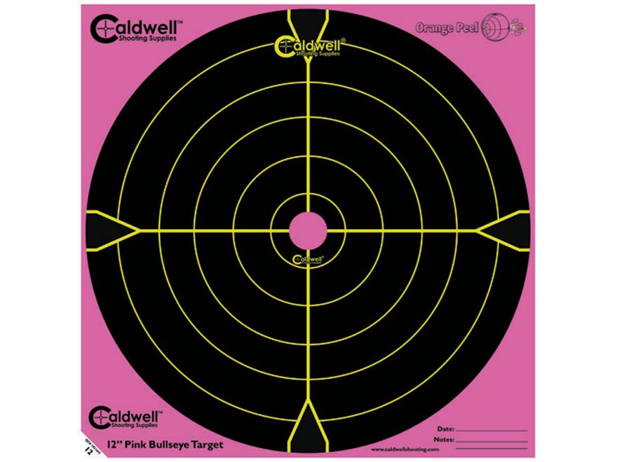 "Caldwell Orange Peel Pink Targets 12"" Self-Adhesive Bullseye Pack of 5"