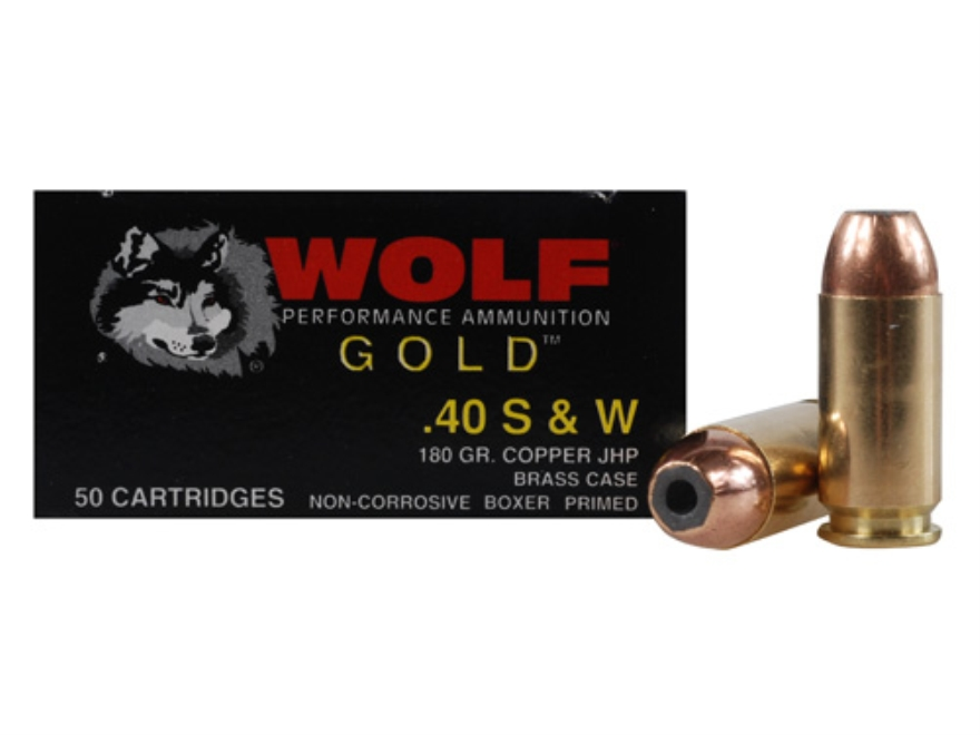 Wolf Gold Ammunition 40 S&W 180 Grain Jacketed Hollow Point Box of 50