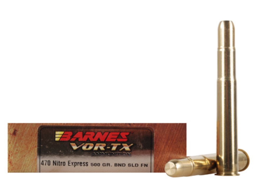 Barnes VOR-TX Safari Ammunition 470 Nitro Express 500 Grain Banded Solid Flat Point Box...