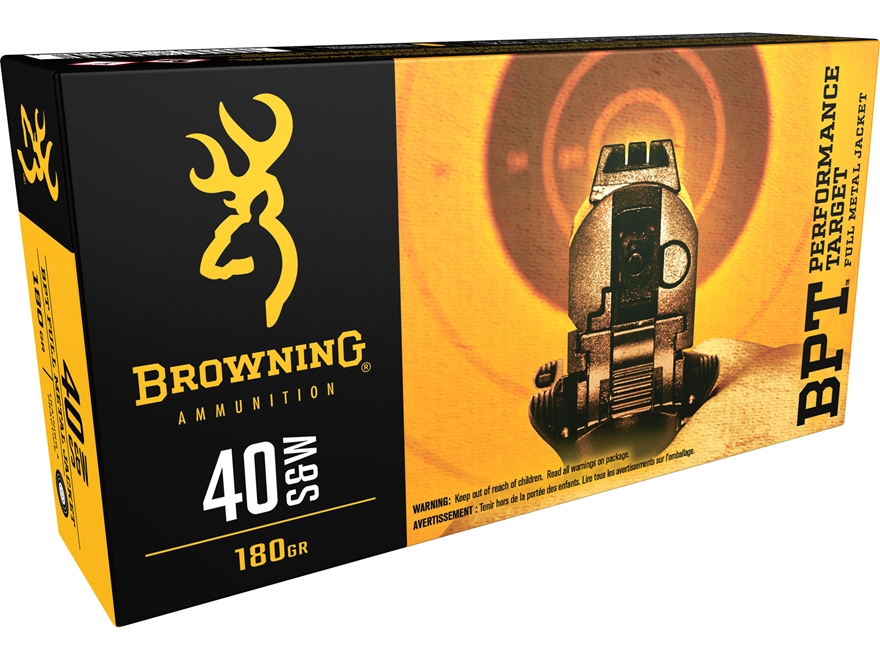Browning BPT Ammunition 40 S&W 180 Grain Full Metal Jacket