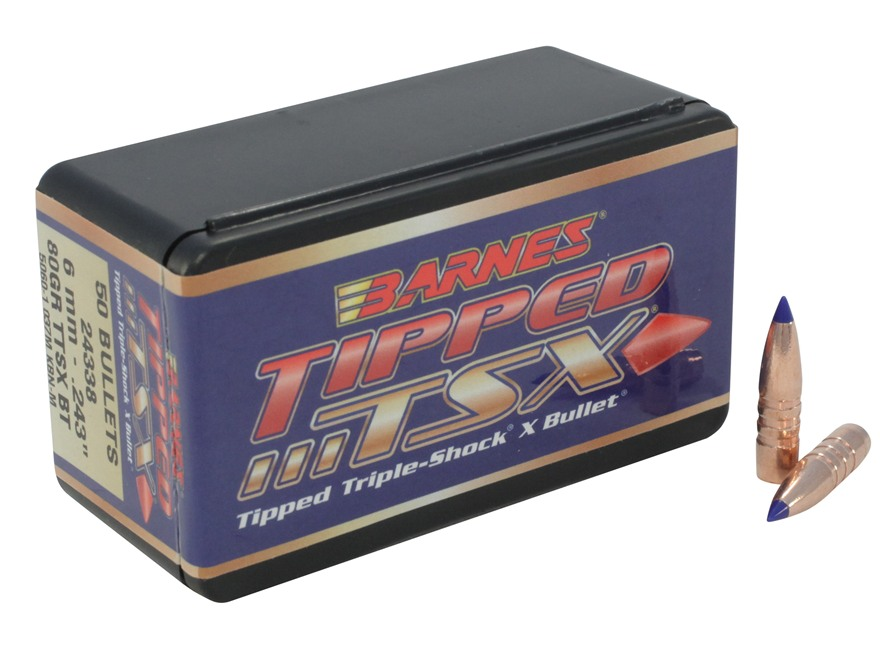 Barnes Tipped Triple-Shock X Bullets 243 Caliber, 6mm  (243 Diameter) 80 Grain Spitzer ...